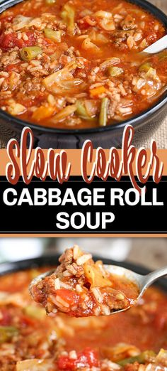 slow cooker recipes This Crock Pot Cabbage Roll Soup is a twist on traditional Cabbage Rolls, for a fraction of the work. With ground beef, cabbage, onion and vegetables; simmered in a rich tomato sauce in your slow cooker. Crock Pot Recipes, Sopa Crock Pot, Easy Soup Recipes, Crock Pot Slow Cooker, Slow Cooker Recipes, Cooking Recipes, Ground Beef Slow Cooker, Vegetable Soup Crock Pot, Pastry Recipes