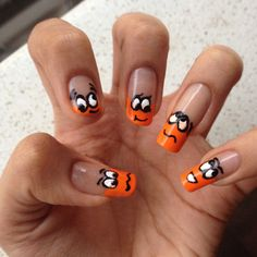 Orange emoji nails