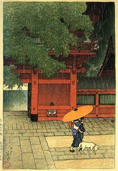 May Rain at Sanno Temple by Kawase Hasui, 1919