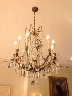 TWO antique crystal chandeliers to decorate...yay!