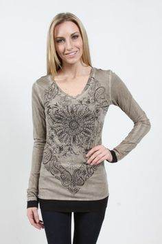 Vocal> T-Shirts> 8714L-Taupe  V-NECK LS TOP W/ SLEEVE/BOTTOM CONTRAST AND PRINT/STONES DETAILS usfashionstreet.com