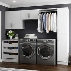 Modifi Horizon 105 in. W White Laundry Cabinet The Home Depot Horizon 105 in. W White Laundry Cabinet Kit The post Modifi Horizon 105 in. W White Laundry Cabinet The Home Depot appeared first on Design Ideas. Modern Laundry Rooms, Laundry Room Layouts, Laundry Room Remodel, Laundry Closet, Laundry Room Organization, Organization Ideas, Storage Ideas, Laundry Storage, Laundry Chute