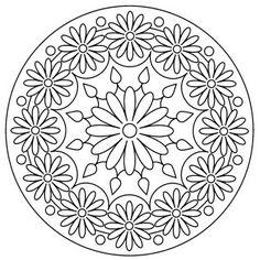 Pattern for silk ribbon embroidery Mandala Coloring Pages, Colouring Pages, Adult Coloring Pages, Coloring Sheets, Coloring Books, Mandala Drawing, Mandala Painting, Dot Painting, Mandala Art