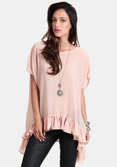 blush-pink ove-rsized blouse with ruffles