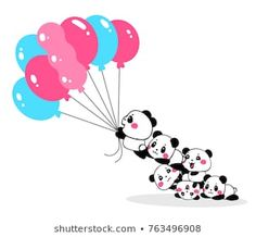 Vector illustration of lovely cartoon pandas take off with bundle of pink and blue color balloons on white background. Happy little cute panda. Flat line art style hand drawn design for poster, card Panda Images, Birthday Clips, Balloon Tattoo, Diy Wall Painting, Cartoon Panda, Panda Party, Art Diary, Wall Drawing, Cute Panda