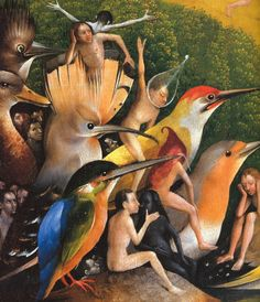Hieronymus Bosch - The Garden of Earthly Delights, center panel, detail, c. - Oil on wood - The Prado, Madrid Blog Art, Renaissance Kunst, Jan Van Eyck, Garden Of Earthly Delights, Rene Magritte, Dutch Painters, Red Art, Medieval Art, Surreal Art