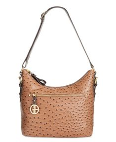Giani Bernini Ostrich Printed Hobo, Only at Macy's - Brown