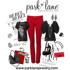 Red Jeans: Rebel to Chic, created by parklanejewelry.p....  Park Lane Jewelry featured: Intermix necklace and earrings, Studded ring, Love bracelet, Lucky Lady ring, Rich and Famous necklace, Night and Day earrings, On the Town bracelets, Noche ring