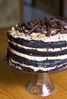 Chocolate Hazelnut Mousse Layer Cake #Hazelnut, #Cake
