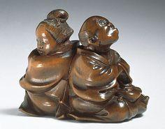 Meikeisai Hojitsu (Japan, died 1872)   Quarreling Couple, mid-19th century  Netsuke, Wood,