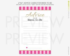 Advice Cards for Bride-to-Be in Victorias Secret Pink Stripes / Instant Printable Download by SupermimiDesign on Etsy