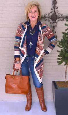 50 IS NOT OLD | SOUTHWESTERN STYLE | Cardigan | Cross | Turquoise | Fashion over 40 for the everyday woman