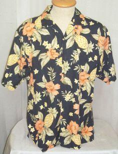 Tommy Bahama Hawaiian Shirt Medium Pineapple Hibiscus Silk Hawaii Mens Camp  Tommy Bahama faf61e964