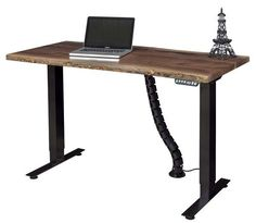 """Adona Adjustable Amish Walnut Live Edge Wood Standing Desk - Quick Ship The Adona adjusts easily, up to 47"""" high. Stunning live edge top. Metal base. Made in America. #standingdesk"""