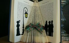 Folded book art victorian christmas tree shelf decoration black ribbon REDUCED | eBay
