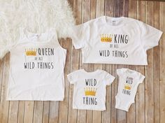Family 4 pack of Wild Ones shirt, Wild thing birthday, wild one birthday, baby's first birthday, matching shirts, matching family shirts. by KyCaliDesign on Etsy https://www.etsy.com/listing/455707580/family-4-pack-of-wild-ones-shirt-wild