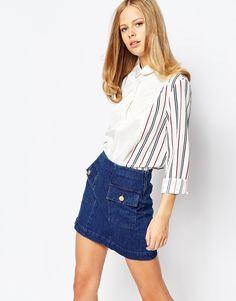 Imagen 1 de Camisa vintage con mangas a rayas en contraste de The Laden Showroom X Even