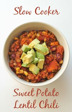 """Nothing says """"comfort meal"""" like this hearty, vegan lentil sweet potato chili made in the slow cooker."""
