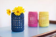 Set di tre copribarattoli all'uncinetto - blu rosa giallo lanterne candele decorazione casa giardino terrazzo, interni, esterni, matrimoni di LaCosaBellaShop su Etsy