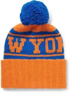 10749d71af3 The Elder Statesman + Nba Knicks Intarsia Bobble Hat Nba New York