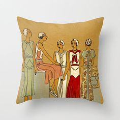ART DECO pillow,Art Deco decor,Gatsby pillow, French fashion illustration,Paris fashion,Flapper pillow, Gatsby deor, Art Deco decor by PictorialHistory on Etsy