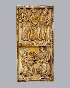 Plaque with the Journey to Emmaus and Noli Me Tangere Date: ca. 1115–20 Geography: Made in León, Spain Culture: Spanish Medium: Ivory, traces of gilding Dimensions: Overall: 10 5/8 x 5 1/4 x 3/4 in. (27 x 13.4 x 1.9 cm) Weight: 30.5oz. (866g) Classification: Ivories Metropolitan Museum of Art  Accession Number: 17.190.47