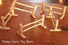 Set of 5 Toy Fence Pieces Rustic Natural Wood by ImagineNationShop