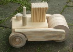 Wooden Toy Steamroller in the Wee size by MyFathersHandsLLC