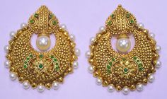 Exclusive Bollywood Style Pearl Polki Earrings Gold Plated Indian Bridal Jewelry #MeetCreation