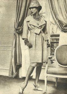 1959. - Yves Saint Laurent for Christian Dior ensemble in Vogue