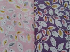 Купить Ткань для кукол, листики - фиолетовый, ткань, ткани, ткань для кукол, ткань для Тильды