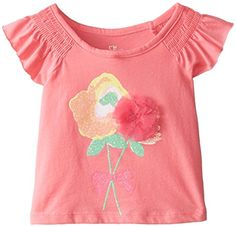 The Childrens Place Baby Girls Short Sleeve Flutter Top Fruit Punch 9 12 Months >>> Want additional info? Click on the image.