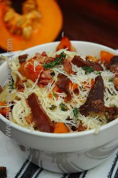 Easy pasta recipes-Pasta-with biltong-butternut-and bacon. I par-boiled he butternut, but this is not necessary-My easy cooking! Easy Cooking, Healthy Cooking, Cooking Tips, Easy Pasta Recipes, New Recipes, Easy Meals, Leftover Chicken Recipes, Biltong, South African Recipes