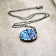 Galaxy Druzy Necklace, Cobalt Blue Violet Purple Teal Aqua Druzy Oxidized Sterling Silver Long Chain Necklace Deep Space - Nebula -. $198.00, via Etsy - so pretty