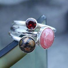 Rhodochrosite, Garnet and Leopard Skin Jasper Stone Ring Set, Stone Stacking Ring Set, Stacking Ring, Sterling Silver Rings