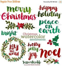 Our Christmas Watercolor Sentiments set comes with a total of 56 beautiful brush lettered Christmas words in watercolor style. Layer these over your holiday cards, or use to decorate your next holiday project! Each letter and sentiment comes separately in Red, Green, White and Dark colors. Mix, match as needed. **PLEASE READ** There are THREE different files to download with this purchase. Make sure to download all three for all 56 pieces.  These sentiments were created by hand with…
