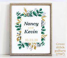 Wedding Cross Stitch Patterns, Modern Cross Stitch Patterns, Wedding Gifts For Friends, Customizable Gifts, Alphabet And Numbers, Print Patterns, Pattern Designs, Cross Stitching, Etsy
