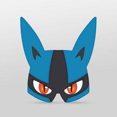 Pokemon Go style Lucario Printable Paper Glasses party mask Mega Lucario, Lucario Pokemon, Pokemon Go, Printable Masks, Printable Paper, Printables, Pokemon Birthday, 7th Birthday, Pokemon Ornaments