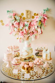 """When your mom's a pastry chef, you're probably going to have a pretty awesome dessert display at your party, right? """"I have to say that I felt a little bit of pressure to pull off quite a dessert extravaganza for Blake's first birthday party, but"""
