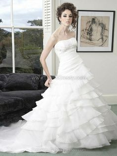 Princess Strapless Organza Satin Sweep Train Beading Wedding Dresses