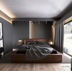 Modern Master Bedroom, Modern Bedroom Design, Home Room Design, Modern Interior Design, House Design, Modern Mens Bedroom, Interior Designing, Design Interiors, Bedroom Designs