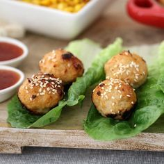 Deliciously simple Oven Baked Thai Chicken Meatballs served in lettuce leaves with a sweet chilli dipping sauce. Fast, fresh and yummy. Baked Chicken Meatballs, Chicken Meatball Recipes, Recipe Chicken, Healthy Mummy Recipes, Asian Recipes, Thai Recipes, Healthy Meals, Chinese Recipes, Appetizer Recipes