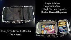 Large Utility Tote w/ single thermal organizer & double thermal organizer. Travel with both hot & cold items.   The double thermal organizer will hold a casserole dish.