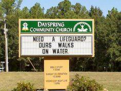Funny Church Signs - Need a Lifeguard? - Beliefnet