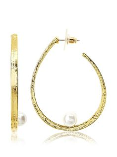 Yochi Pearl Float Hoop Earrings  Buymereadme.com