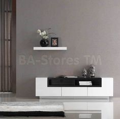 TV Stand in White Gloss and Dark Oak by J&M