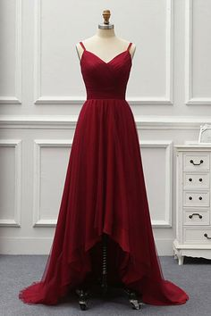 A Line High Low Tulle Prom Dress with Train, Burgundy V Neck Backless Formal Dress N1692 – Simibridaldress