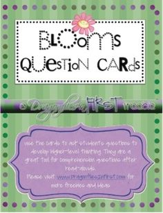 These question card FREEBIES are based upon Blooms Taxonomy. Use them to promote higher-level thinking during lessons and after read-alouds. Color...