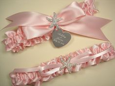 Beach Wedding Garter Set in Pink Satin with Rhinestone Starfish and Personalized Engraving