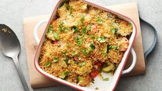 Packed full of the fresh flavors of summer, this vegetable casserole is a great way to use up extra garden veggies. Topped with a crispy Parmesan and bread crumb topping, this side dish is a welcome addition to any meal.